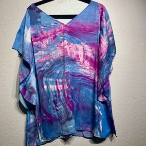 Rachel Roy Purple and Blue Blouse with slit sleeve